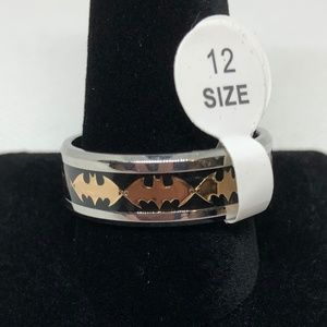 Gold Colored Batman Logo With Black Band SS Ring